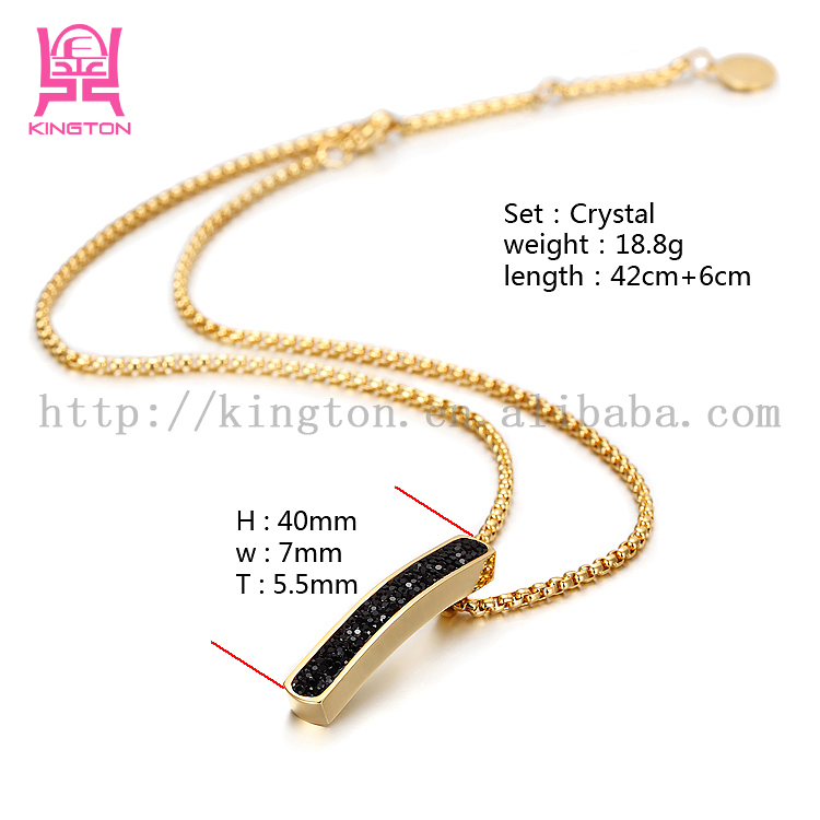 2015 Fashion design jewelry stainless steel necklace with crystal ...