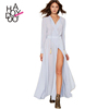 HAODUOYI Women Sexy Chiffon Dresses Female V-neck Long Sleeve Pleated High Waist Tie Long Vestidos for Wholesale