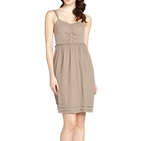 pale taupe ruched casual summer spaghetti strap tiered hemline halter top dress patterns made in vietnam clothing