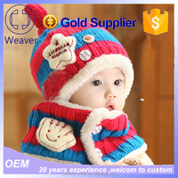 wholesale promotion high quality boy/girl warm beanie christmas gift hat and scarf winter 3-48months baby knit hat and scarf
