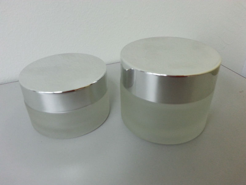 Glass Jar 30ml and 50ml wtih chrome silver cap
