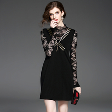 Autumn new ladies lace celebrity slim slimming black dress