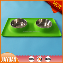 Stainless steel dog bowl with no spill non-skid silicone mat feeder bowl for dogs cats and small pets