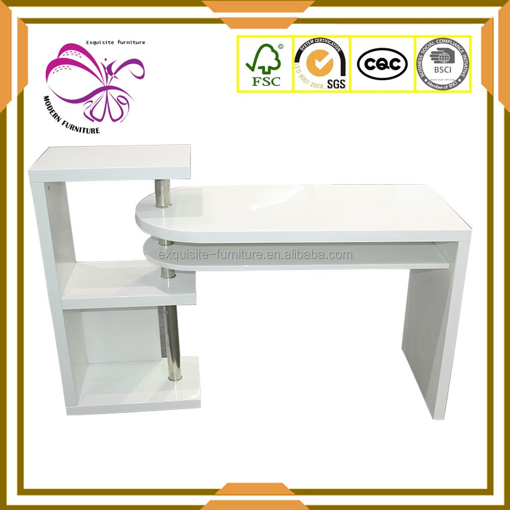 Modern design white high gloss rotatable computer desk