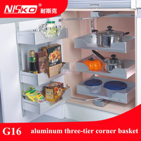 3C Cheap and high quality wall aluminium Three tier kitchen corner basket