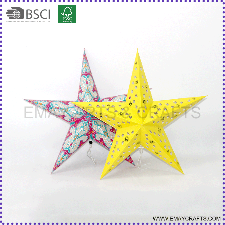 Hot Sale Paper Crafts Five Pointed Star for Wedding Decoration