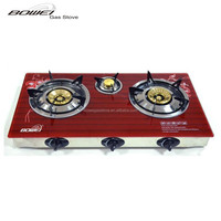 Good Quality Tempered Glass Top Table 3 Burner Gas Cooker BW-XK3003