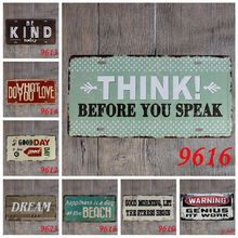 Warning Kind Dream Beach Genius at Work vintage Nostalgia embossed metal tin sign souvenir license plates retro number plate