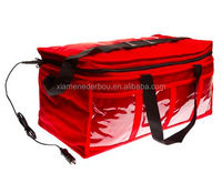 12V Insulated Heated Take Away Pizza Hot Food Delivery Bag with Cold Drinks Holder