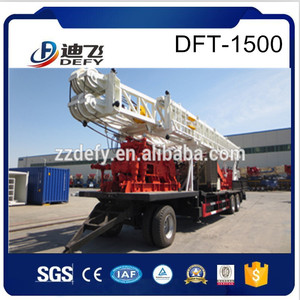 2016 China Trailer mounted 1500m DFT-1500 Hot Sale used borehole water well drilling machine tools for drilling price
