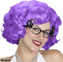 Ladies Costume Fancy Dress Up Aussie Dame Edna Style Wig Purple W3003