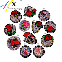 Hot sales embroidery rose flower patch stone for hat