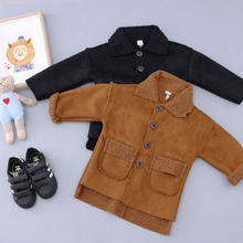 TC16021 2016 wholesale boutique children's clothing woollen thick warm coat new style kids baby winter fur coat