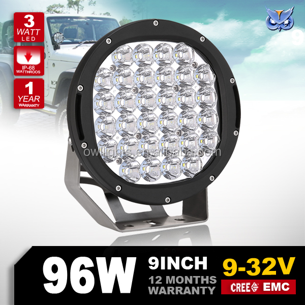96w 180w 185w led work light black & red auto parts 4x4 accessories 4wd trailer light 9 inch 96w round led driving lights