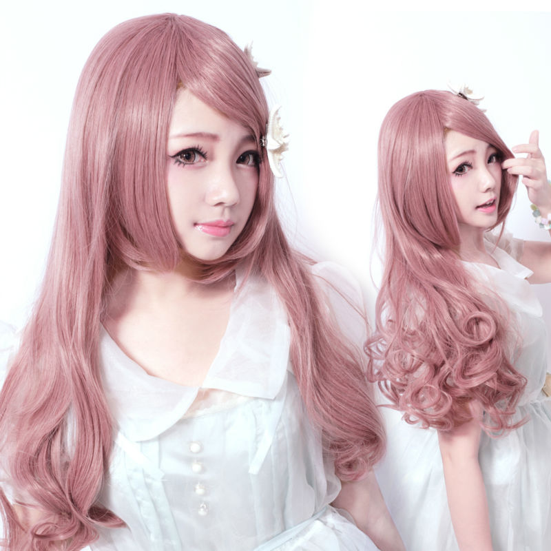 Synthetic in purple pink Harajuku cosplay wigs