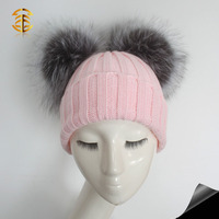 Striped style big silver fox fur pom pom knitted for women winter wholesale