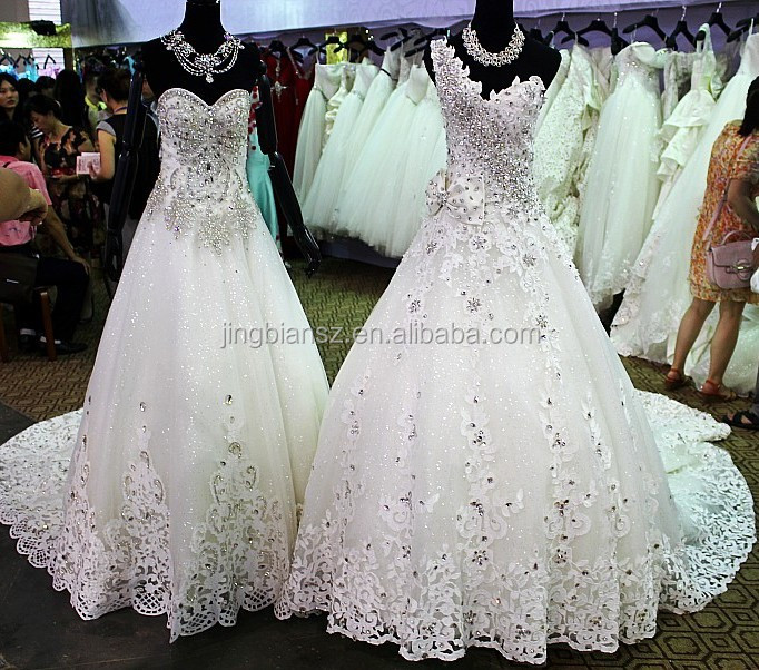 factory price luxury real sample crystal one shoulder wedding gown #OW261