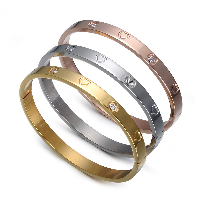 Customized Ladies Jewelry Zirconia Engraved Stainless Steel Love Bangle