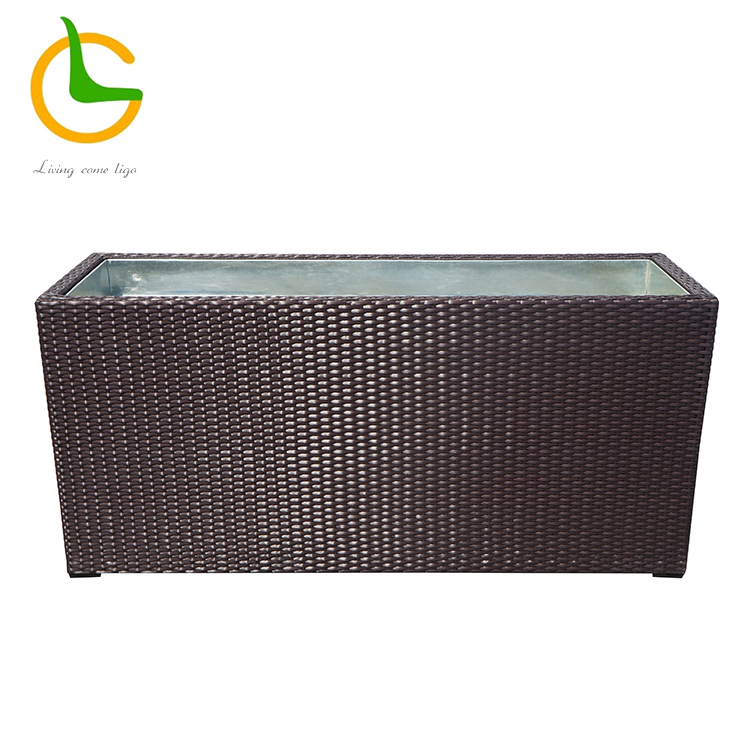 Brown outdoor garden rectangular rattan vase