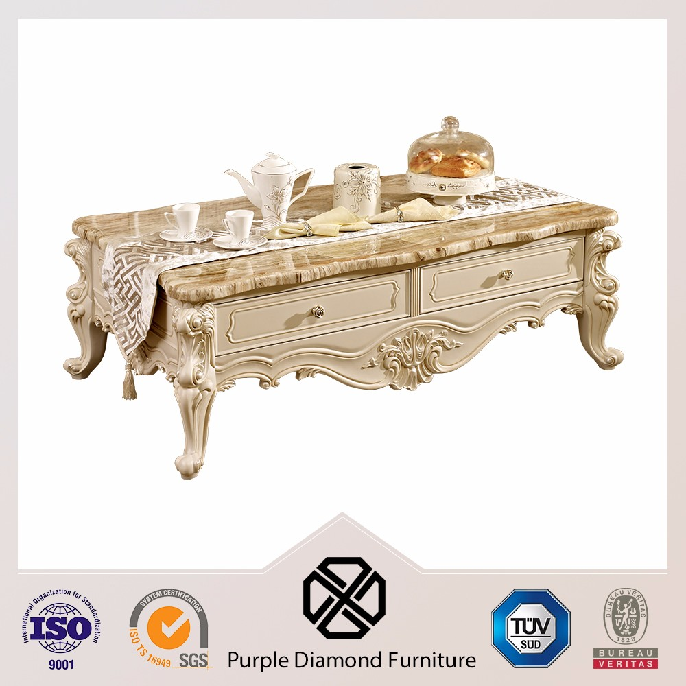 Luxury antique root carving marble coffe table tea table