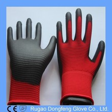 Red Polyester Black PU Working Glove/Abrasion Resistant Gloves