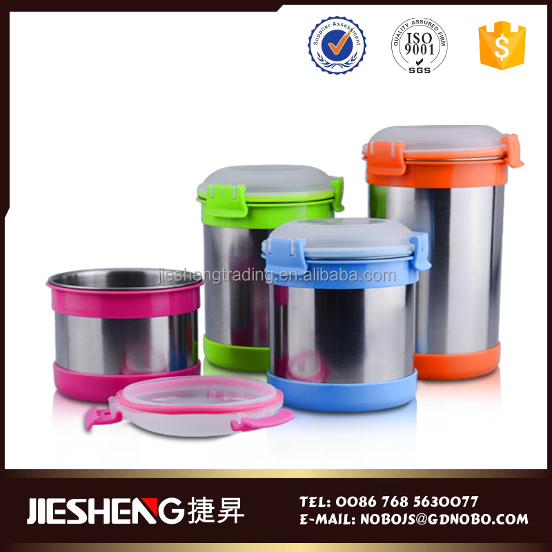 Mini round reusable thermos food warmer container for stockpot with clear lid