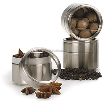 Stainless Steel Clear Top Can Jar Stackable Herbs Spice canister with clamp