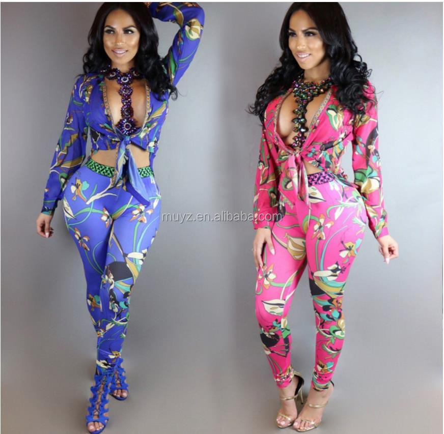L0865A Sexy ladies long sleeve v-neck african print two pieces jumpsuits