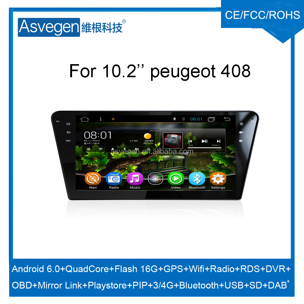 Wholesale Android Car Video Player 10.2INCH For Peugeot 408 Car GPS Navigation With HD Screen,Playstore,Wifi,Mirror Link