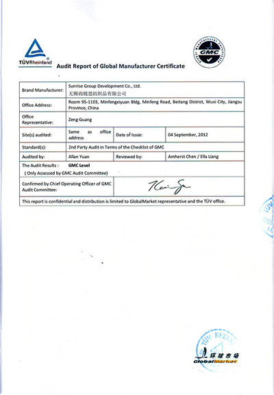 Audit Report of Global Manufactuerer certificate