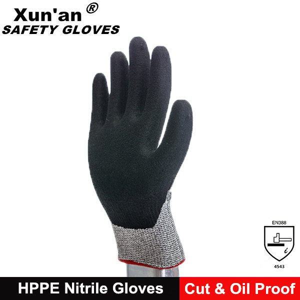 nitrile coating oil resistant gloves with cut 5 HPPE lined