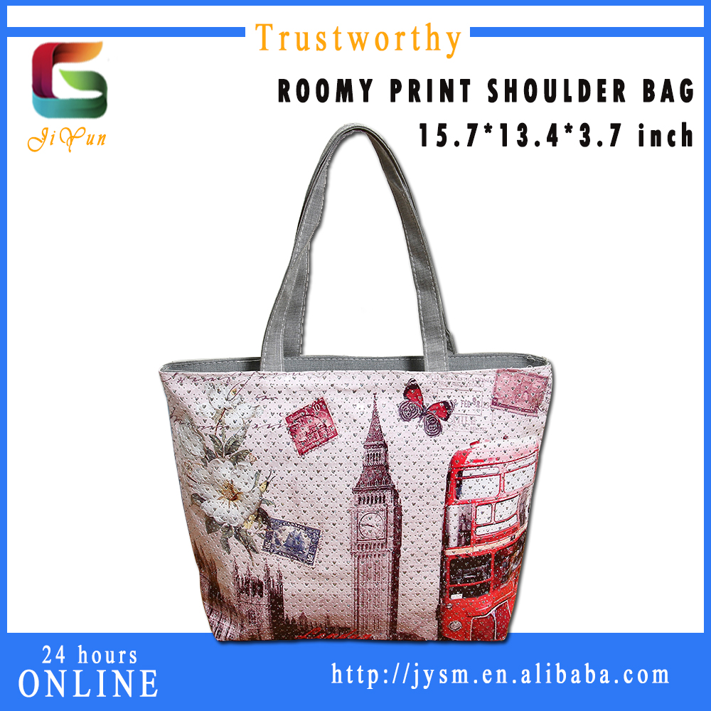 England Style Pvc Shopping Bag Print Big Ben Red Bus Souvenir Designer Handbag Wholesale Custom Women Shoulder Bag