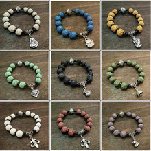 Colorful Lava Rock Bracelet Gemstone Beads with Fantastic Charms Round Brilliant Stretch Unisex