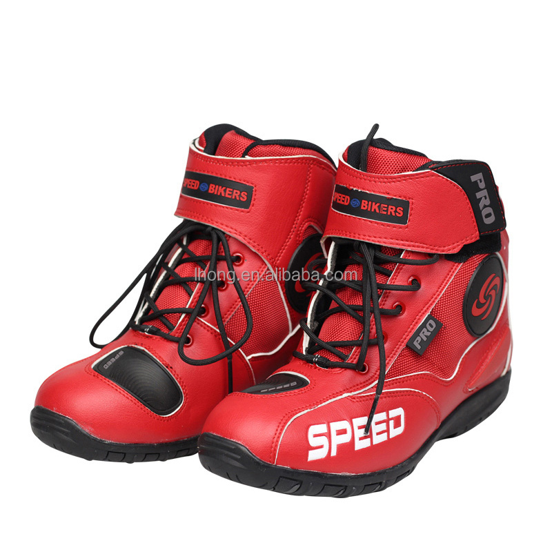 Motor Bike Shoes Mens Biker Boots Leather Motorcycle Boots