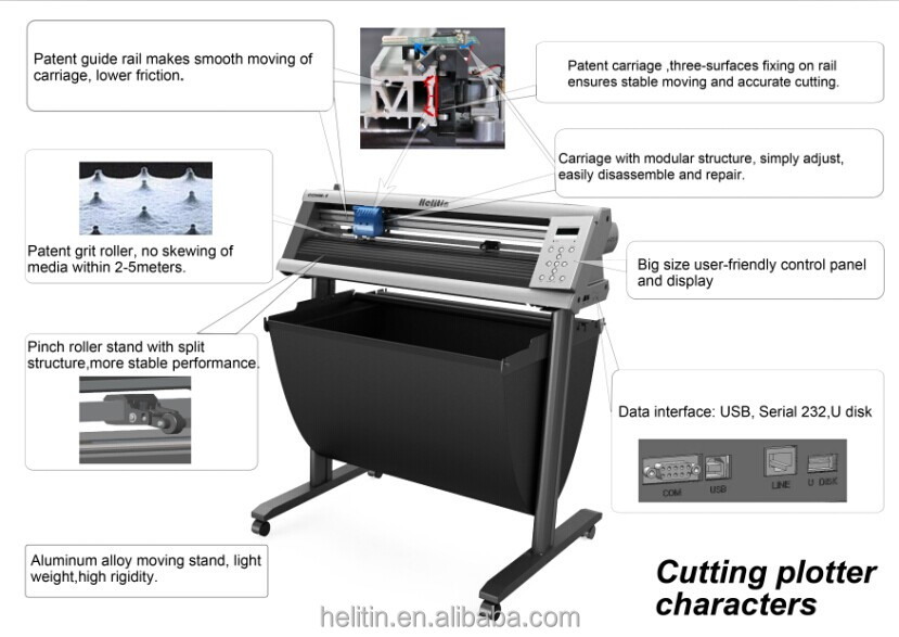 High speed contour sticker cut plotter machine with stepper motors