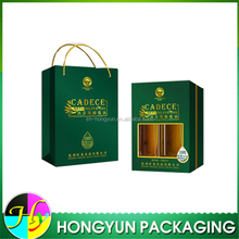 Golden Hot Stamping PVC window Olive Oil Packaging Box with paper bag
