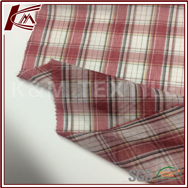 Silk Material 30% S 70% C Check Pattern Cotton Silk Fabric