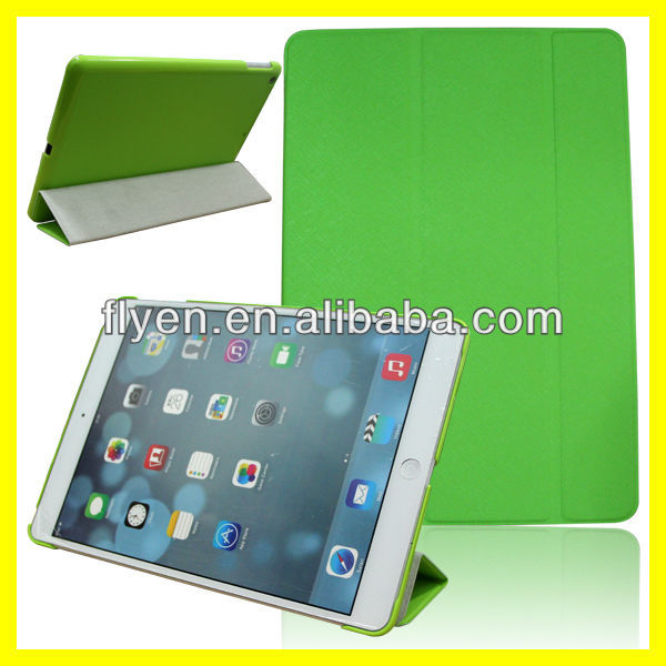 minion green cross pattern Ultra Slim Smart Magnetic trifolding pu Leather Case Cover For New Apple iPad 5 Air 2013