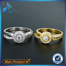 Elegant fashion jewelry couple platinum and 14k gold rings