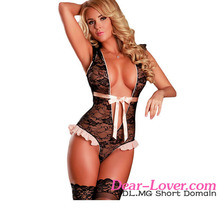 Open Ladies Cheap Plunging Ruffled Lace Black Sexy Nude Teddy Lingeries