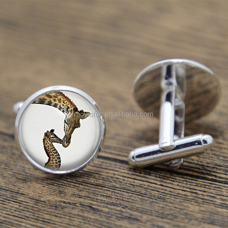 Giraffe cufflink Mama and Baby Animal Jewelry Wildlife Safari Nature Art cufflink Wildlife print glass cufflink