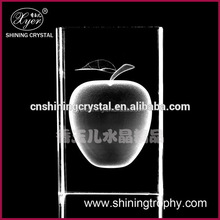 2015 Shining 3d photo crystal laser engraving machine price clear crystal apple