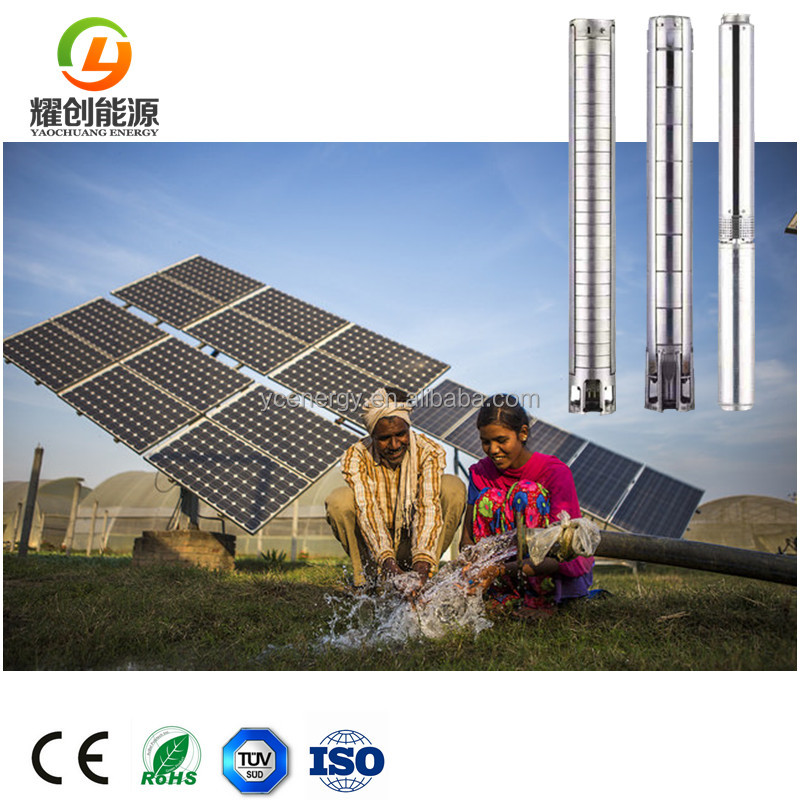 0.75 HP 0.55 KW 2 inch 1 inch submersible solar water pump for borehole 200mm-300mm Diameter Deep well