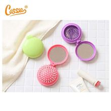 Factory price ABS plastic hairbrush round hair comb foldable hair brush with mirror