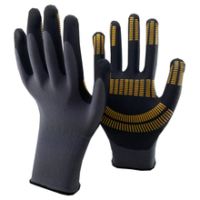 NMSAFETYEN388 13g nylon liner coated nitrile glove nitrile dots on coating improve grip performance