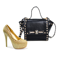2016 wholesale women italian shoes and bag set,plus size luxury shoes for ladies