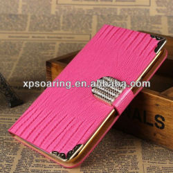 Diamond wallet leather case with plastic cover for Samsung Galaxy note II