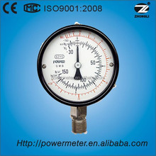 CE standard china suppier 4intch 100mm black steel case bottom connection ammonia gas testing pressure gauge manometer