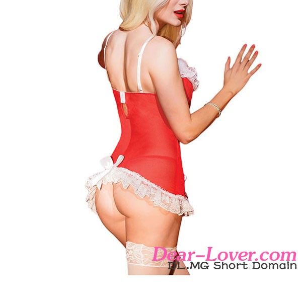 Kissable Xmas Night Santa Costumes Erotic Lingerie Sexy Mesh Chemise