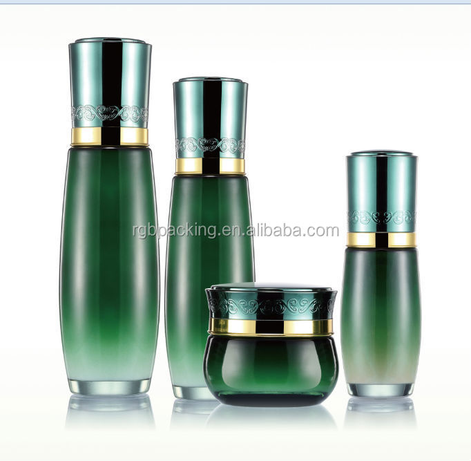 Empty glass cosmetic pump bottles and cream jars with for Custom cosmetic jars
